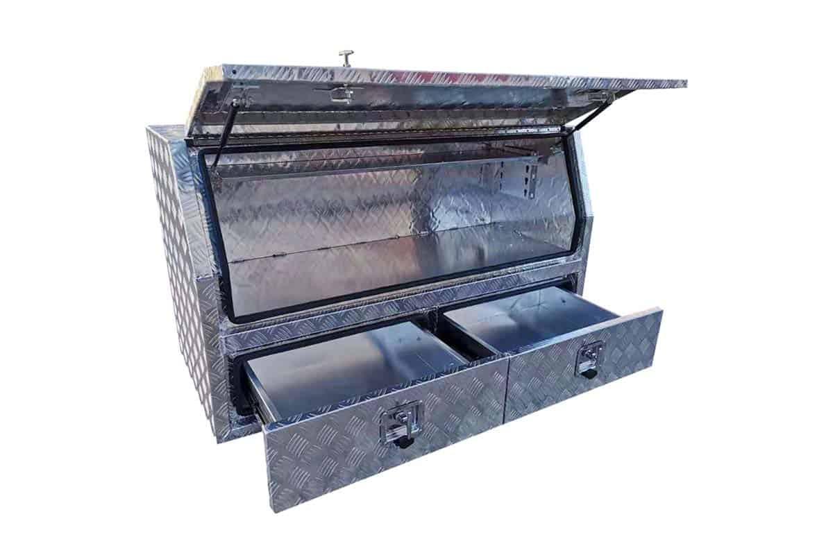 1400mm Half Lid Toolbox With Drawers Check Plate1