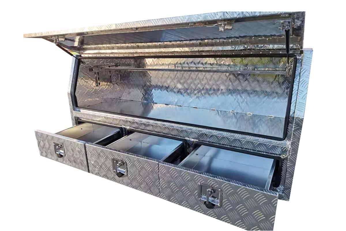 1800mm Half Lid Toolbox With Drawers Check Plate1
