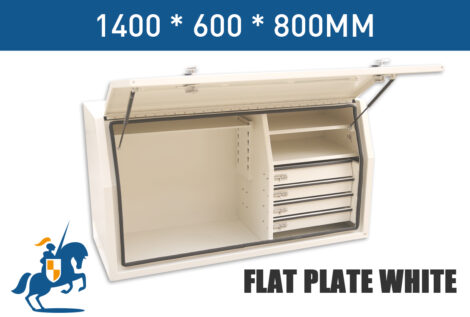 1400mm Full Opening Tool Box With Built In 4 Drawer Flat Plate White